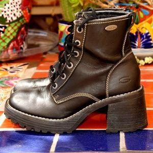 Skechers Black Leather Plateau Mesa Platform Boot
